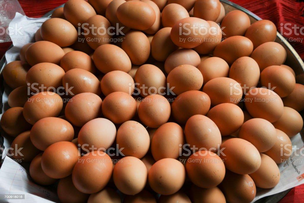 Chicken egg for sale in street market. stock photo