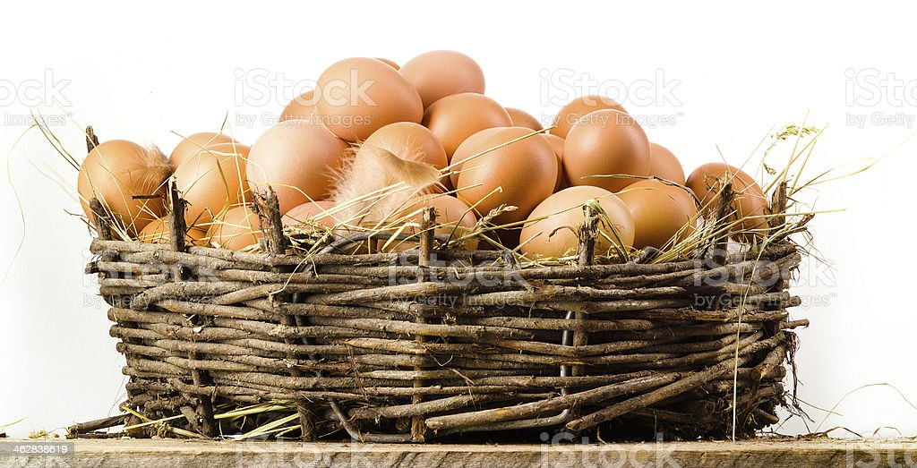 Chicken eggs in basket isolated. Organic food royalty-free stock photo