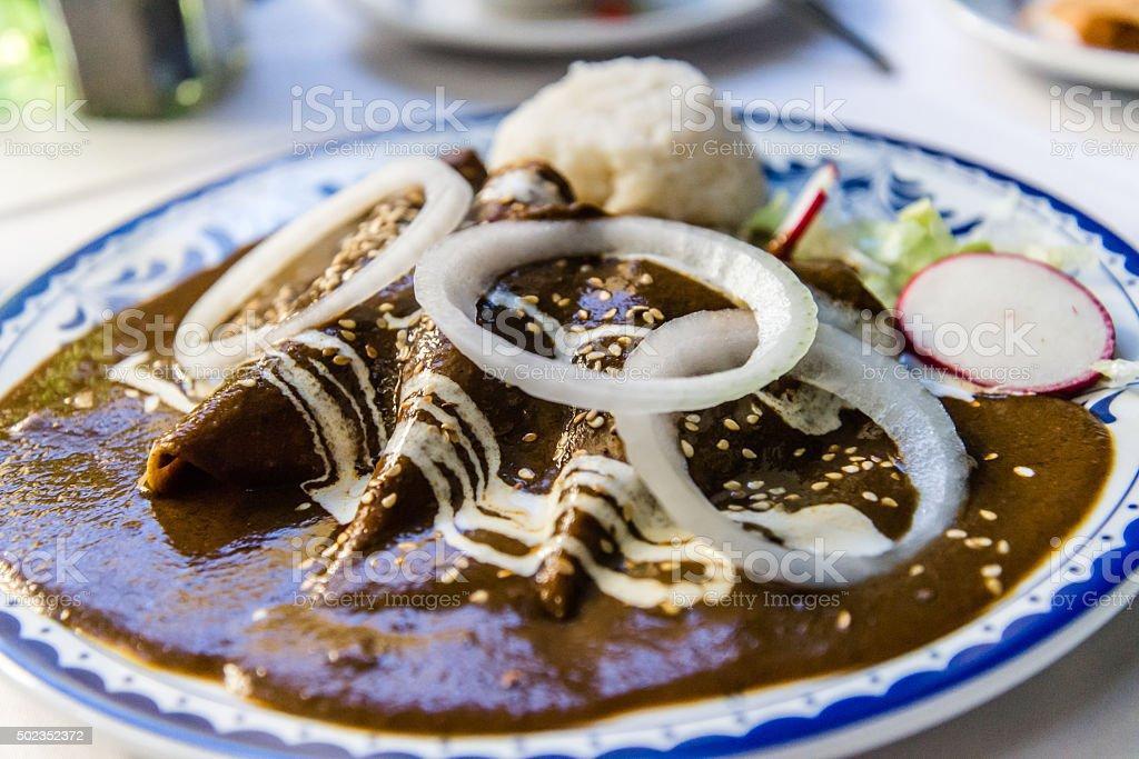 Enchiladas de pollo con mole stock photo