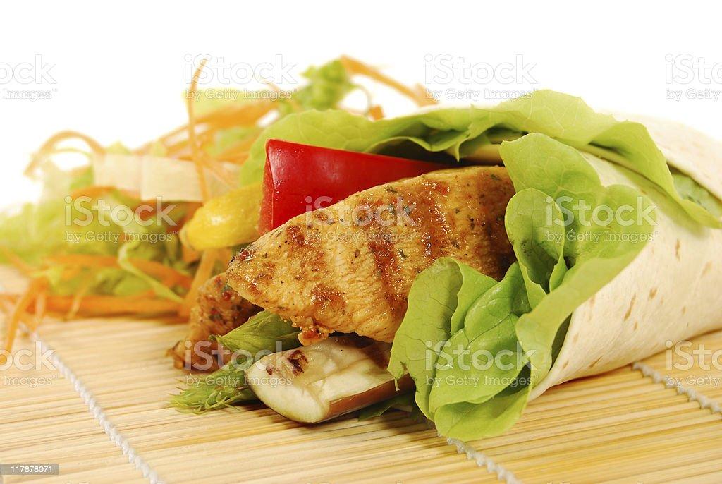 Chicken fajita wrap sandwich royalty-free stock photo