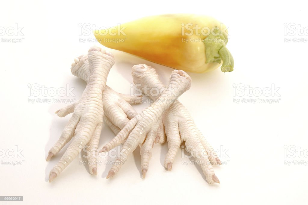 chicken feet and paprika prepared for a soup royalty-free stock photo