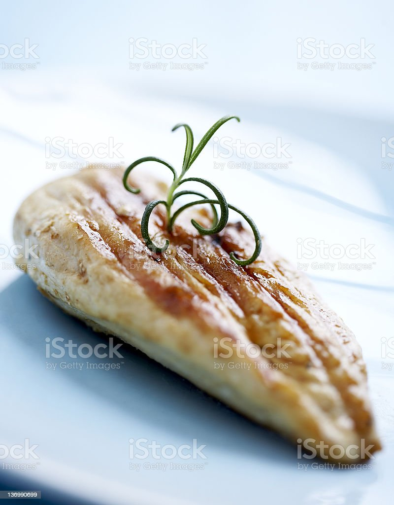Chicken filet isolated on a white plate royalty-free stock photo