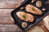 Chicken fillet with onion in a pan grill. horizontal view from above