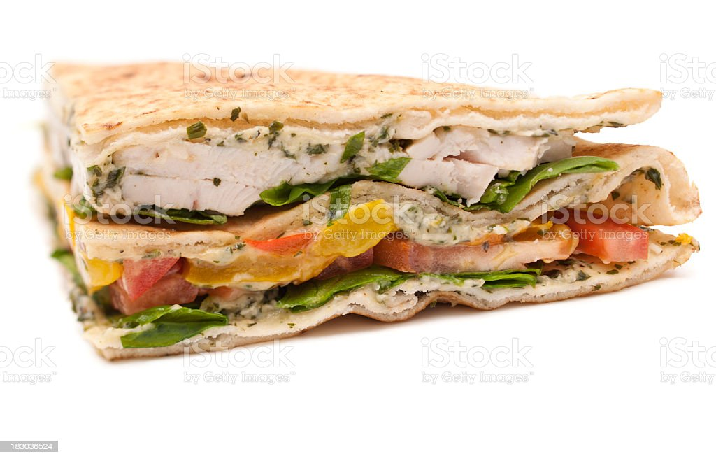 chicken flatbread sandwich royalty-free stock photo