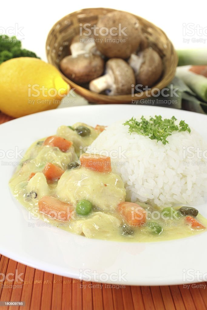 Chicken fricassee with capers stock photo