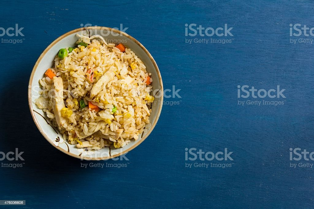 Chicken fried rice with copy space stock photo
