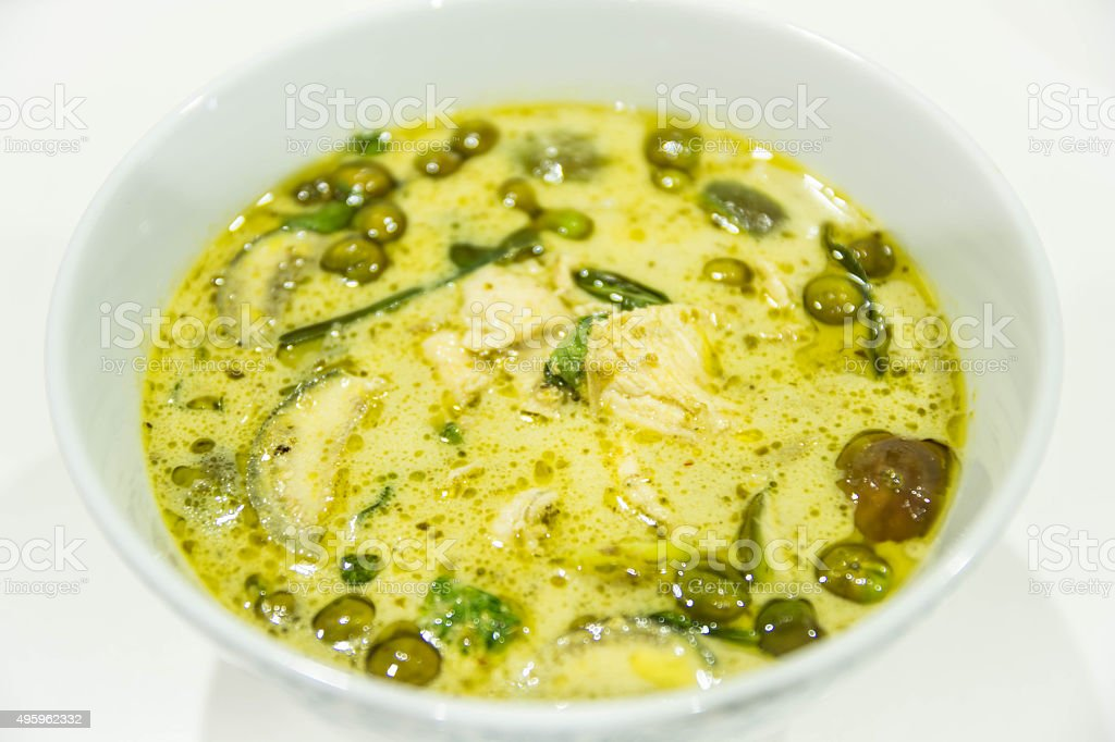 Chicken green curry stock photo