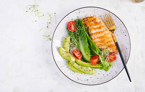 Chicken grilled fillet with salad fresh tomatoes and avocado. Healthy food, ketogenic diet, diet lunch concept. Keto/Paleo diet menu. Top view, flat lay stock photo