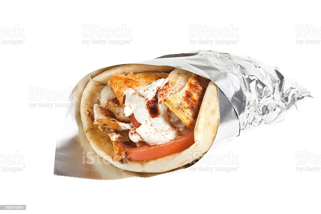 Chicken Gryo with Tomatoes and tzatziki. royalty-free stock photo