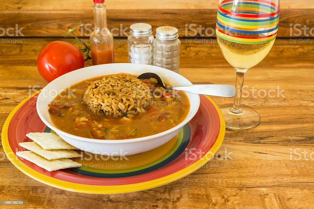Chicken Gumbo with Dirty Rice stock photo
