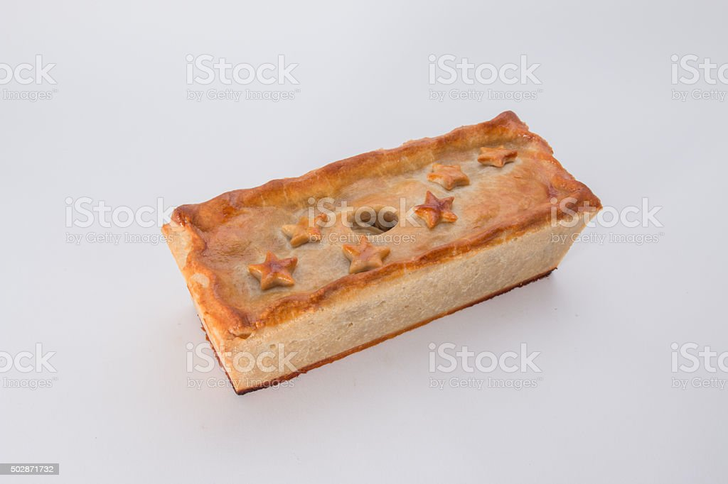 Chicken, Ham and Sausage pie, the  cooked pie stock photo