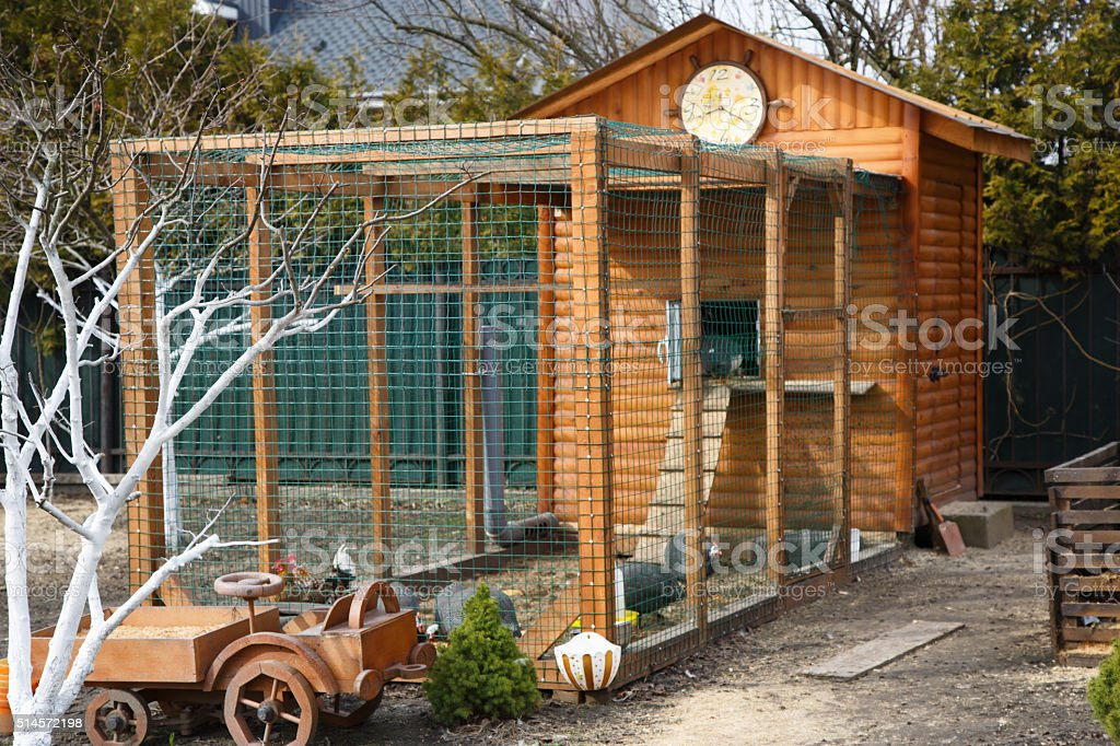 chicken house wooden home on a farmstead stock photo