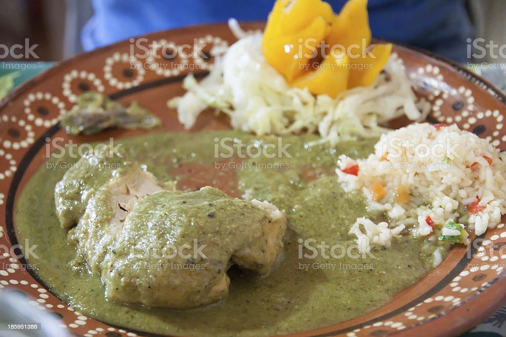 Chicken in mole verde stock photo