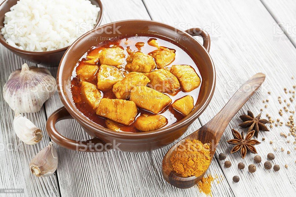 Chicken in spicy sauce stock photo