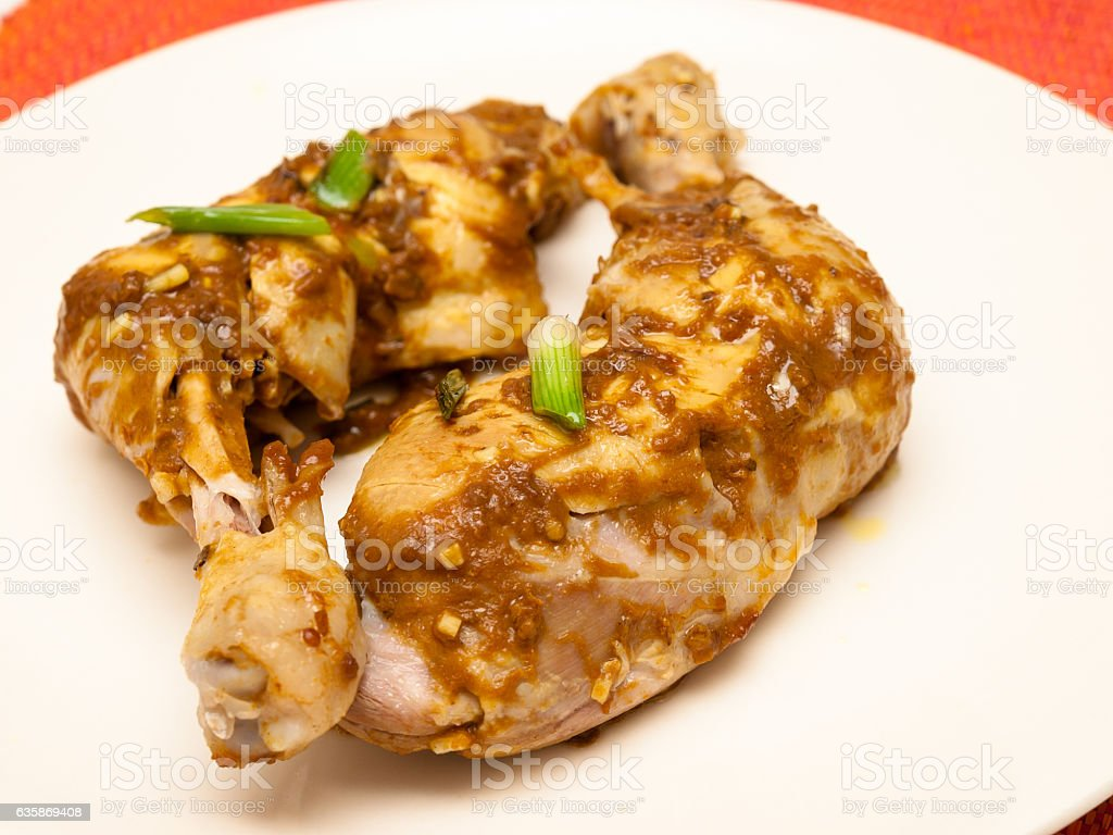 Chicken in tamarind sauce stock photo