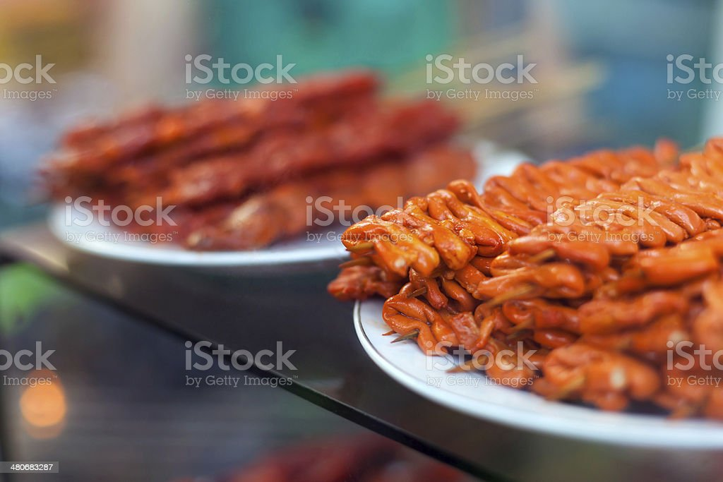 Chicken intestines, pig ears barbeque screw, stock photo