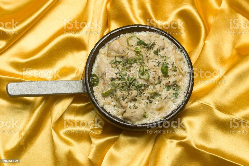 Chicken Karahi in white sauce stock photo