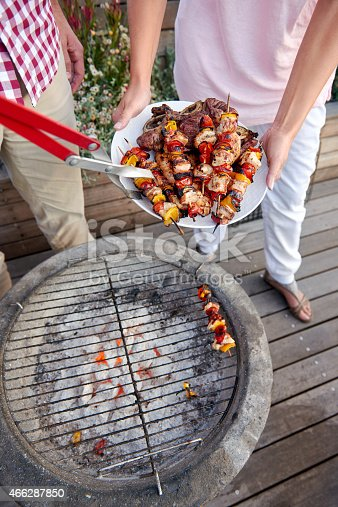 696841580istockphoto Chicken kebab barbecue party 466287850