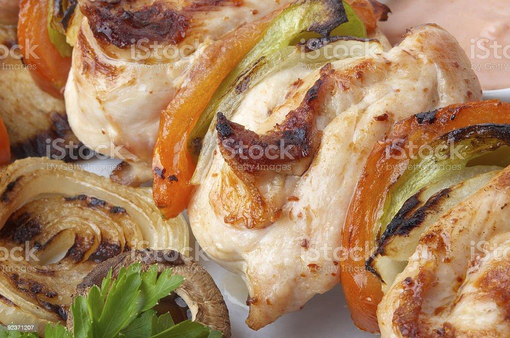 chicken kebab closeup royalty-free stock photo