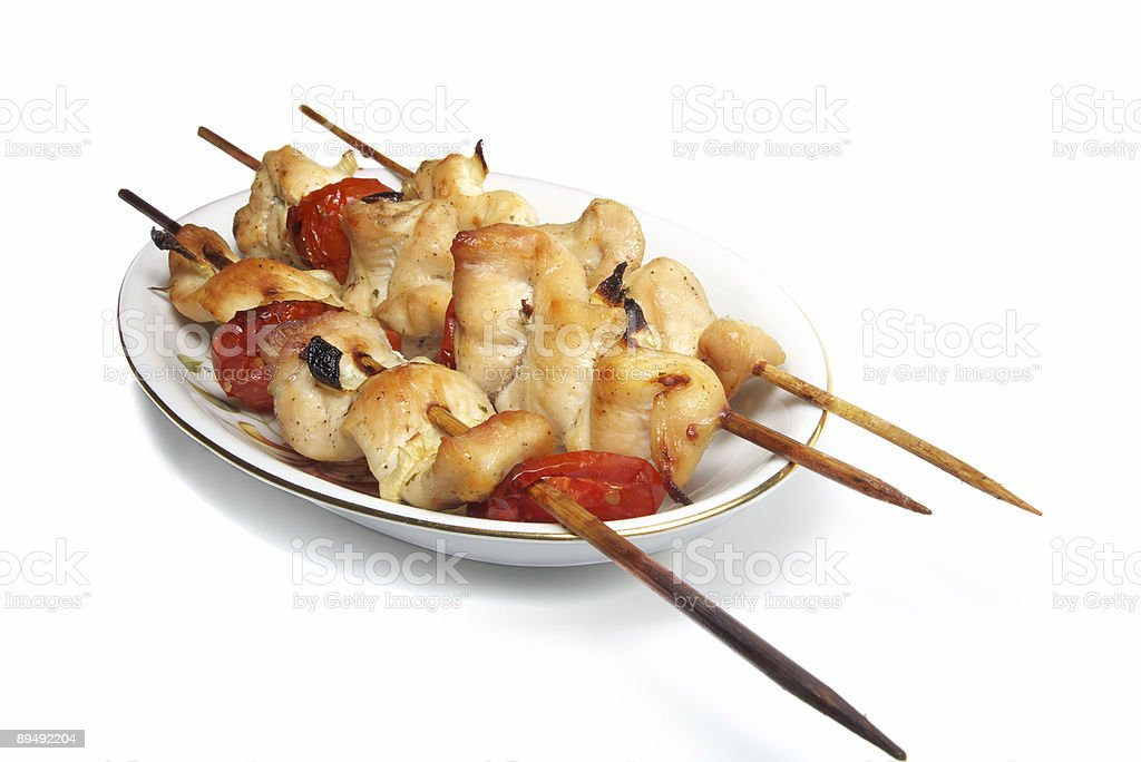chicken kebab isolated royalty-free stock photo