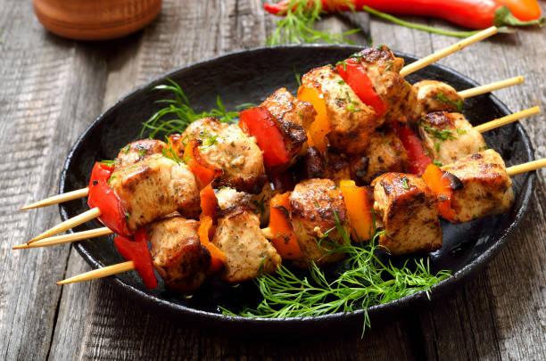 ピーマン、チキン ・ ケバブ - 鶏肉 ストックフォトと画像