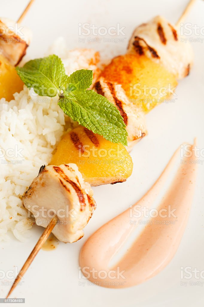 chicken kebab with rice stock photo
