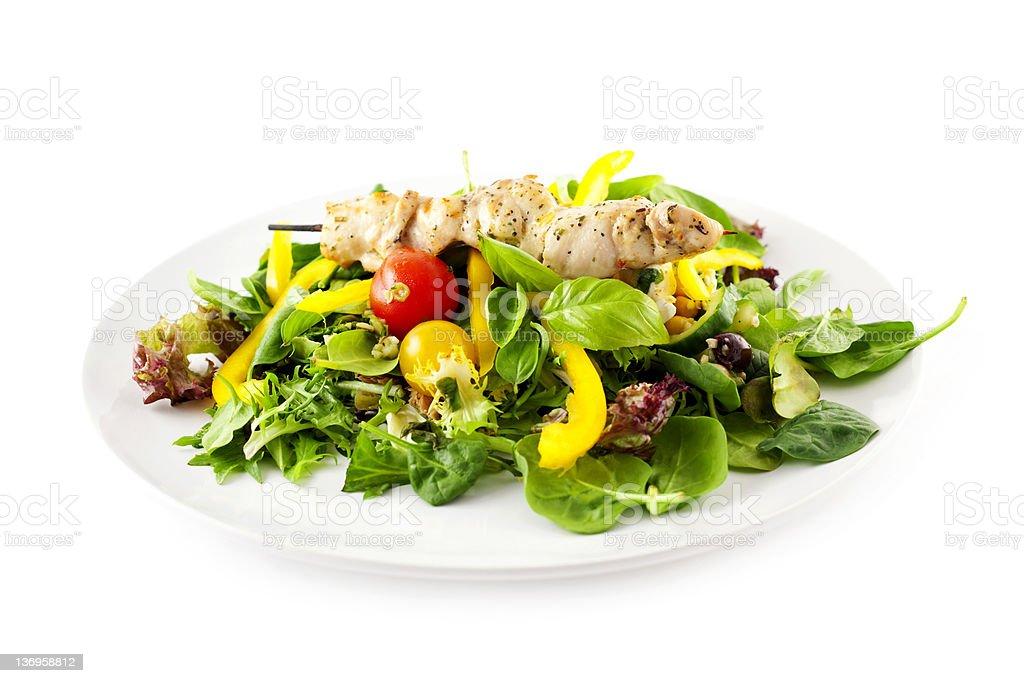 Chicken Kebab with Salad stock photo
