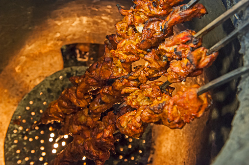 Chicken Kebabs Cooking In A Tandoori Oven Stock Photo ...