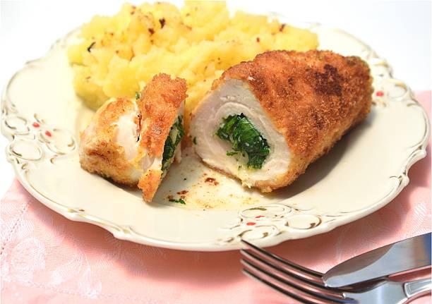 Chicken Kiev with mashed potato stock photo
