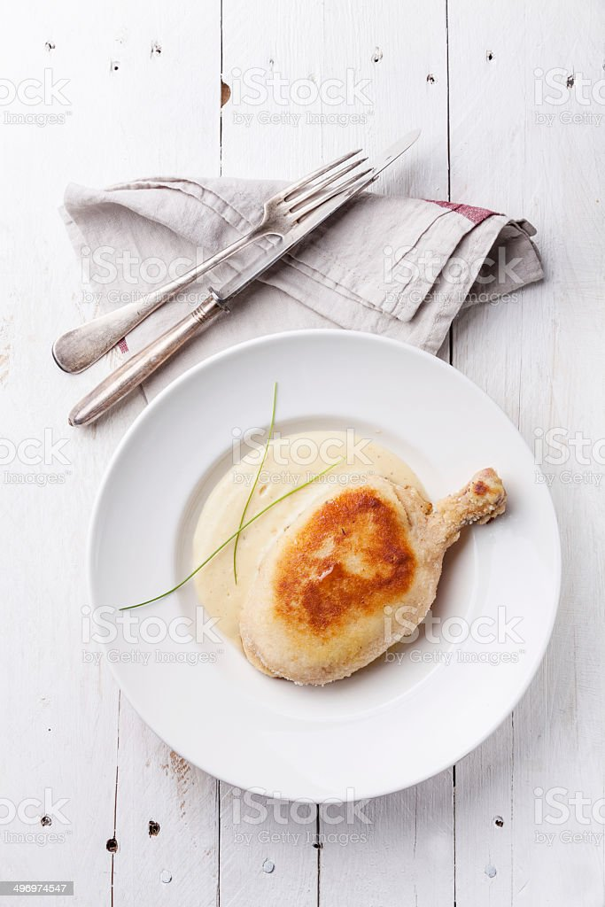 Chicken Kiev with mashed potatoes stock photo