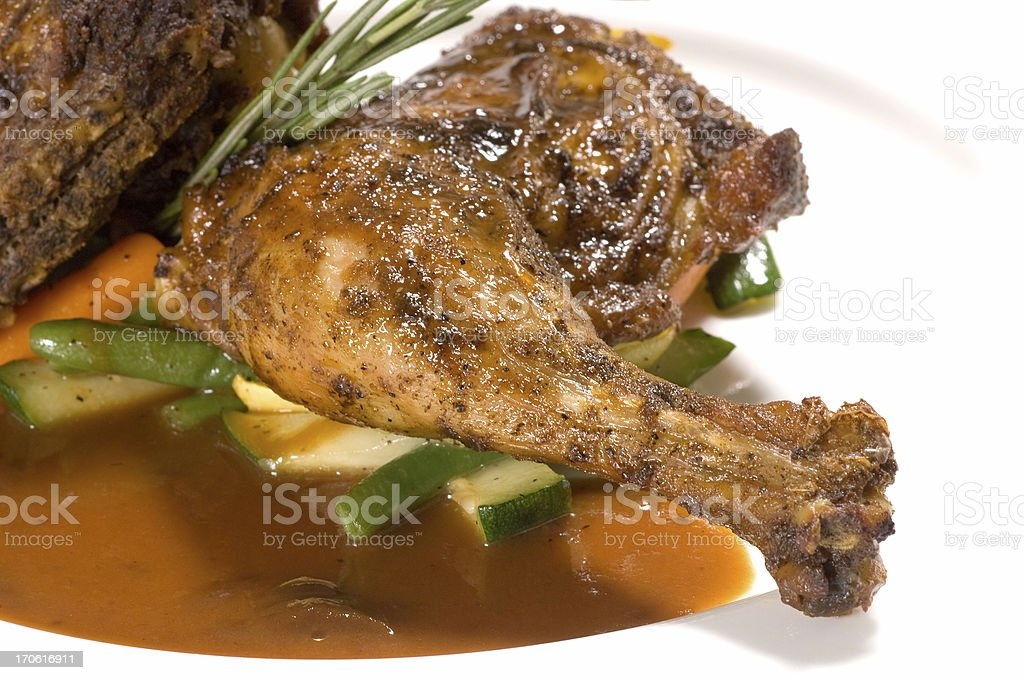 Chicken leg in lime and lemon sauce royalty-free stock photo