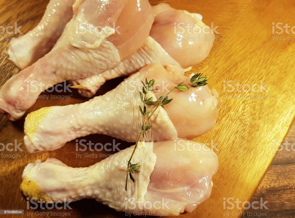 chicken legs raw, preparation, cooking stock photo