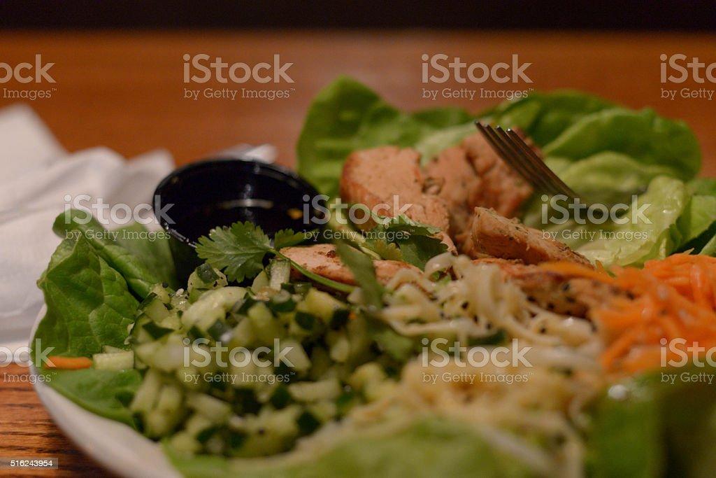 chicken lettuce wrap stock photo