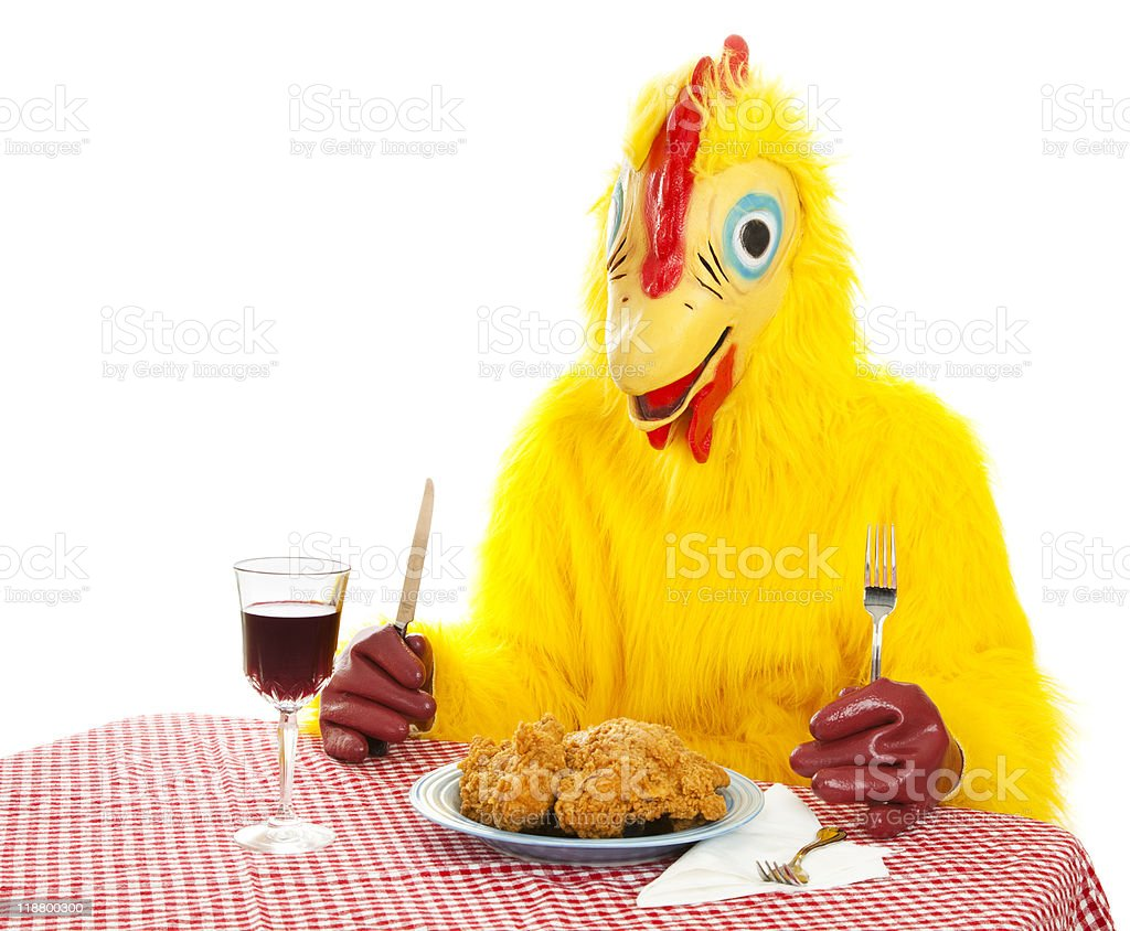 Chicken Man Eating Dinner royalty-free stock photo
