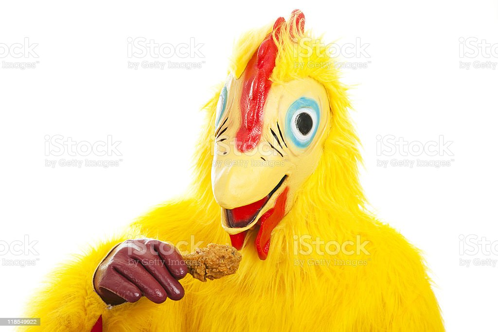 Chicken Man Eats Drumstick royalty-free stock photo
