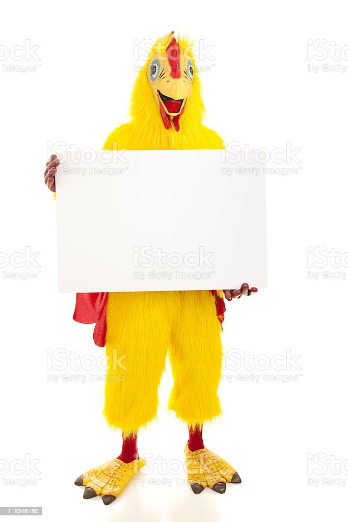 Chicken Man Holds Blank Sign stock photo