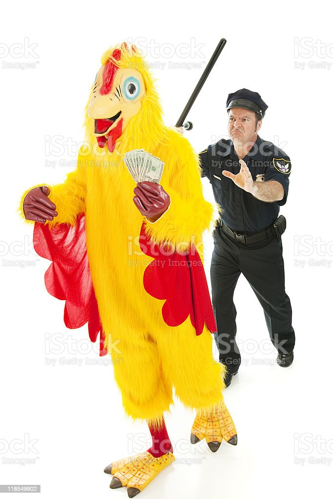 Chicken Man on the Lam royalty-free stock photo