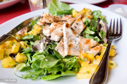 A fancy bed of greens topped with grilled local chicken and mangoes with a light herb-ed dressing at a fancy restaurant in New York City