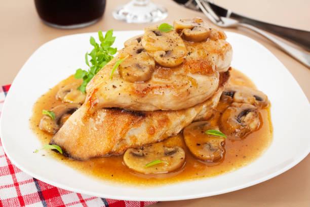Chicken Marsala Italian Food stock photo