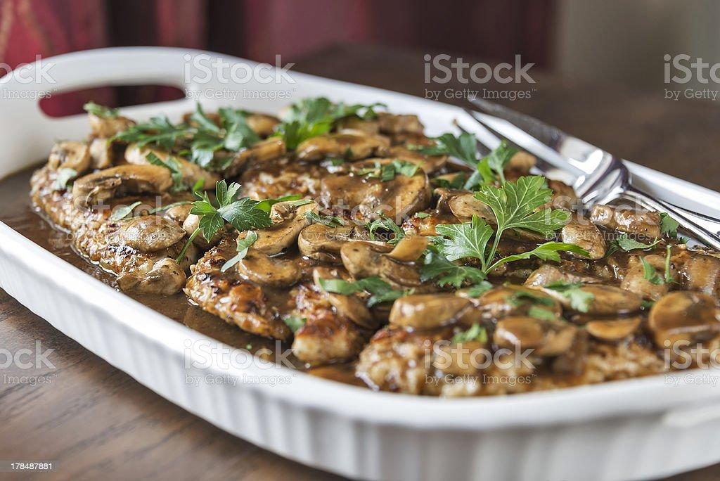 Chicken Marsala on a platter stock photo