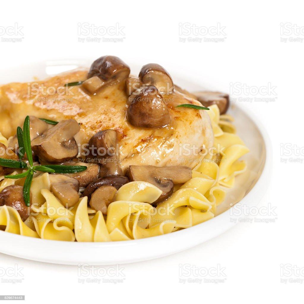 Chicken Marsala with Mushrooms and pasta stock photo