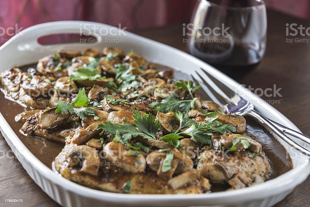 Chicken Marsala with wine stock photo