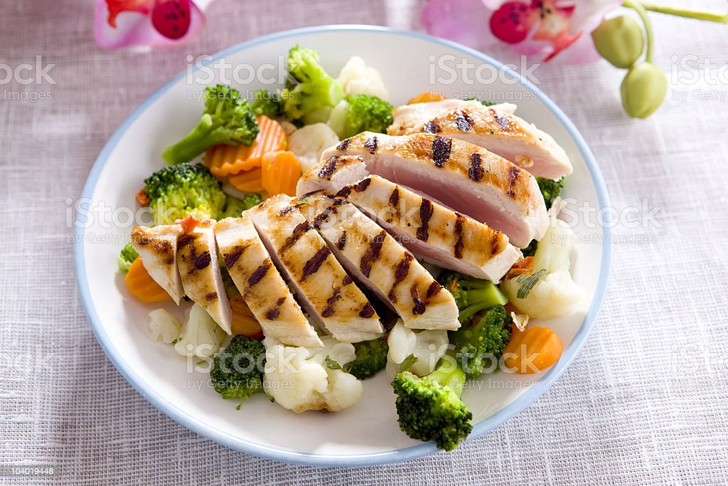 chicken meal with veggie royalty-free stock photo