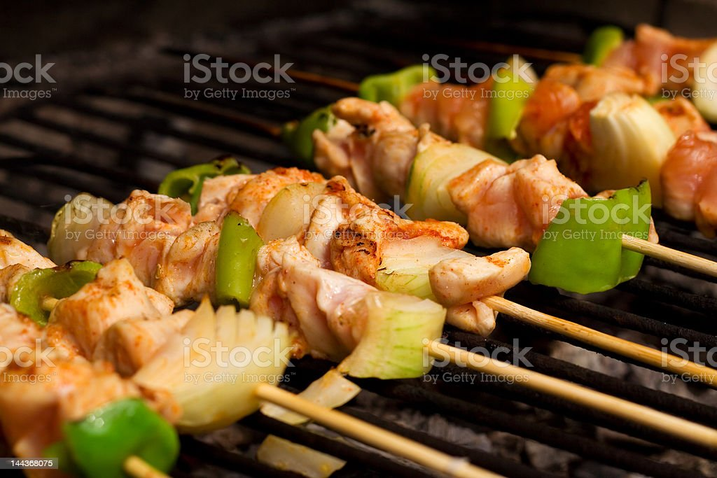 Chicken meat and vegetables barbecue royalty-free stock photo