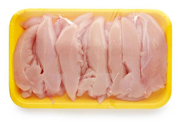 chicken meat package - chicken bird in box stockfoto's en -beelden