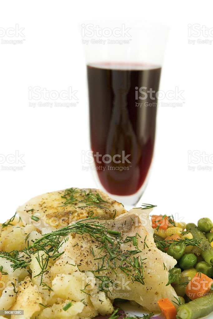 Chicken meat with vegetables and red wine glass royalty-free stock photo