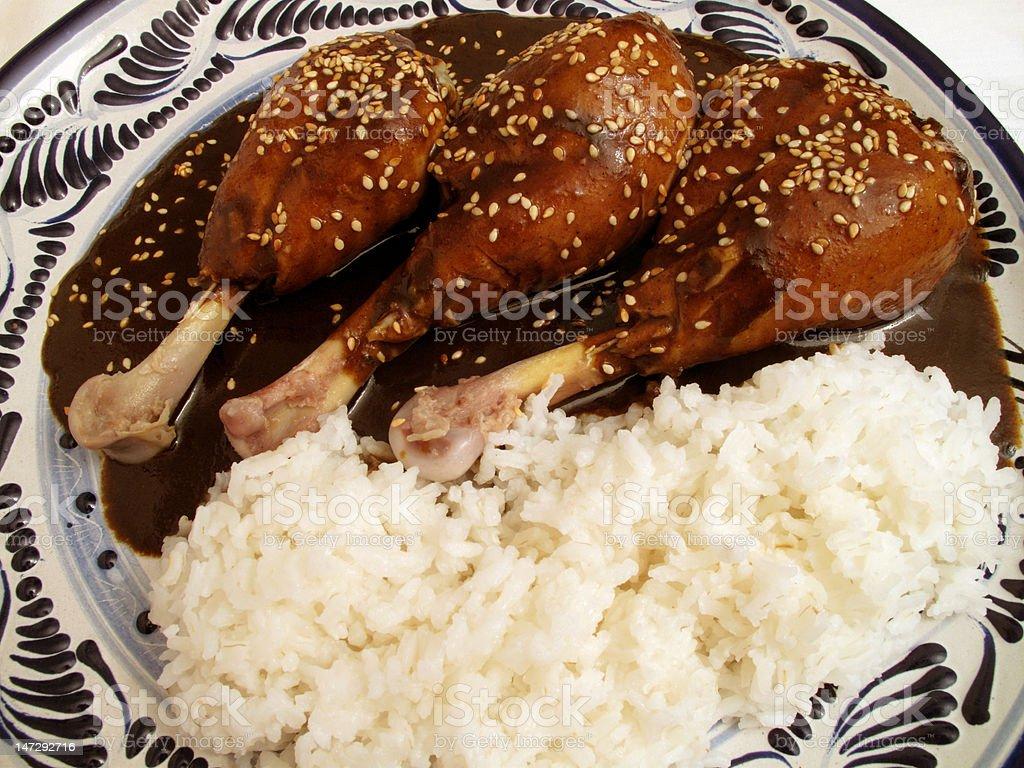Chicken Mole and Talavera Plate stock photo