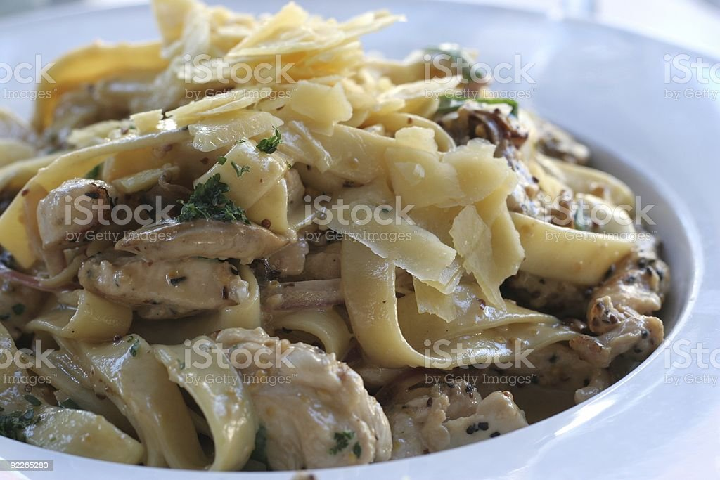 Chicken & Mushroom Fettuccine stock photo