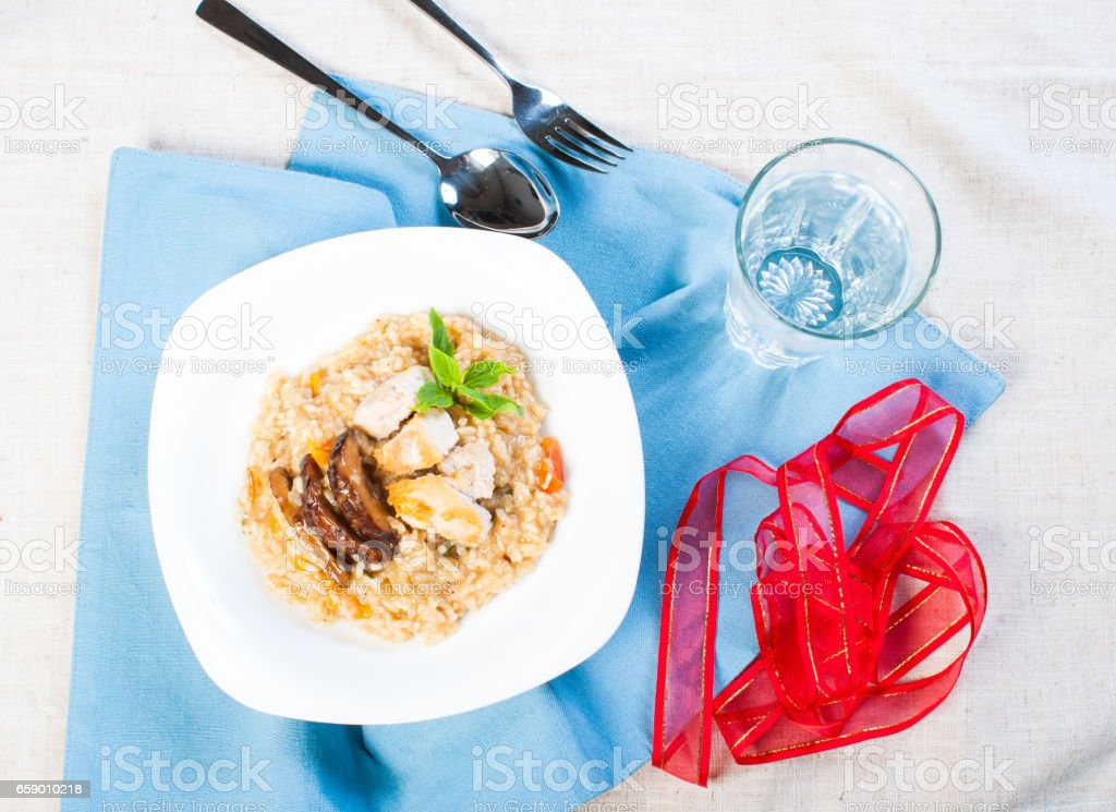 chicken mushroom risotto royalty-free stock photo
