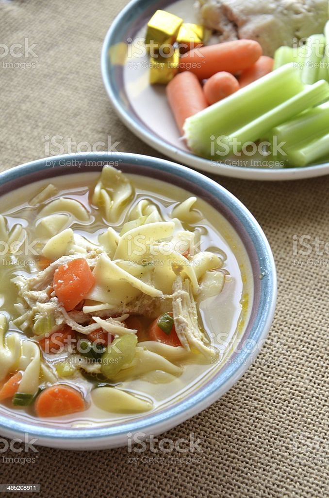 Chicken Noodle Soup and Ingredients stock photo